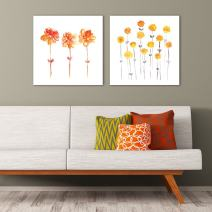 """wall26-2 Panel Square Canvas Wall Art - Minimalism Style Watercolor Flowers on White Background - Giclee Print Gallery Wrap Modern Home Decor Ready to Hang - 16""""x16"""" x 2 Panels"""