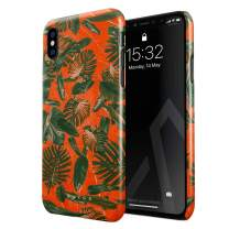 BURGA Phone Case Compatible with iPhone X/XS - Neon Orange Palm Trees Leafs Tropical Exotic Summer Green Palms Cute Case for Women Thin Design Durable Hard Plastic Protective Case
