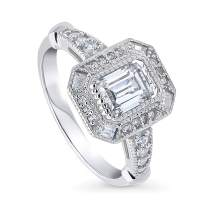 BERRICLE Rhodium Plated Sterling Silver Art Deco Milgrain Halo Engagement Ring Made with Swarovski Zirconia Emerald Cut 1.39 CTW