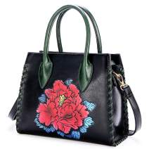 Ruiatoo Handbag for Women Flower Fashion Satchel Tote PU Leather Shoulder Bags with Strap