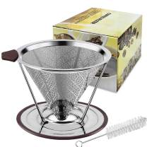 Stainless Steel Coffee Filters, YesTree Pour Over Coffee Dripper Cone with Stand Reusable Paperless Coffee Filter, 100% Paperless & Eco-Friendly(Silver)