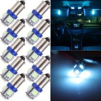 cciyu 10 Pcs T11 BA9S 5-5050-SMD LED Ice Blue Light Bulb Car 12V Lamp T4W 3886X H6W 363
