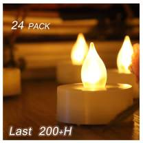 24 PCS Small Unscented Cream White Fake Flickering Battery Operated Powered Electric Flameless LED Tea Lights Tealight Candles Bulk Set Lot Baptism Party Wedding Decorations Home Kitchen Decor Gifts
