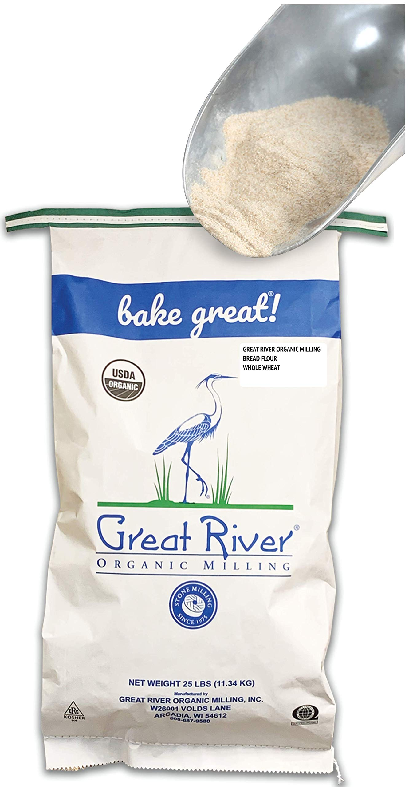 Great River Organic Milling Organic Whole Wheat Bread Flour, 25-pounds (Pack of1)