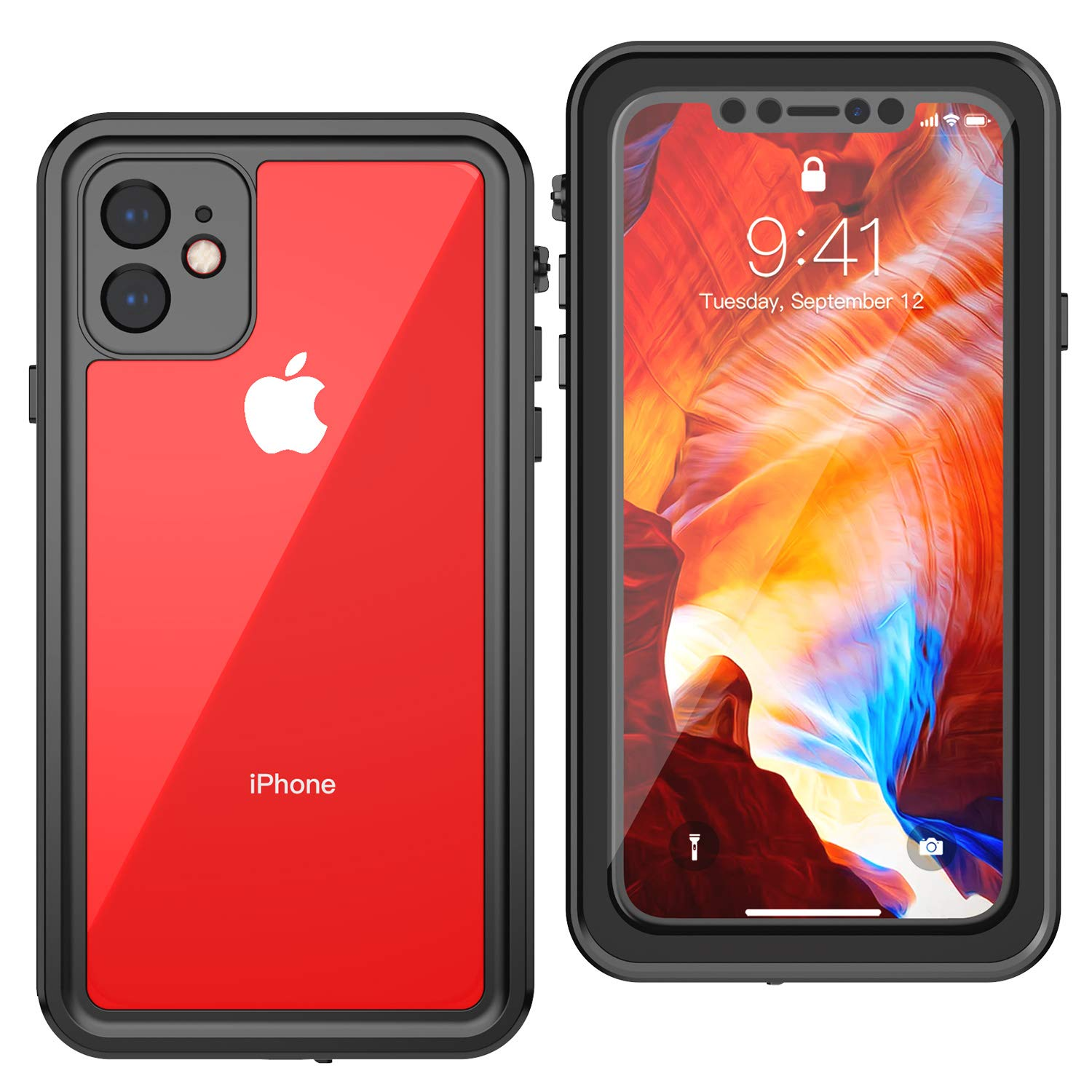 ALOFOX Designed for iPhone 11 Case, 360 Full-Body Built-in Screen Protector Real Heavy Duty Rugged Shockproof Dustproof Case for iPhone 11 (2019) 6.1 inch (Black/Clear)