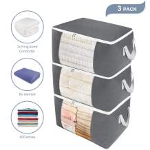 Clothes Storage Bag Containers Organizer for Blankets, Large Capacity for Comforters, Pillows, Foldable with Clear Window, Sturdy Zipper, Reinforced Handle and Eco-friendly Fabric, 90L, 3 Pack(Grey)