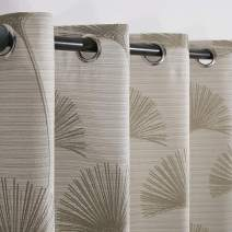 Thermal Insulated Curtains with Palm Leaves Pattern Darkening Grommets Drapes Linen Textured in Modern Jacquard Window Curtain for Living Room and Bedroom (2 Panels, W 52×L 84 Inch Long, Beige)