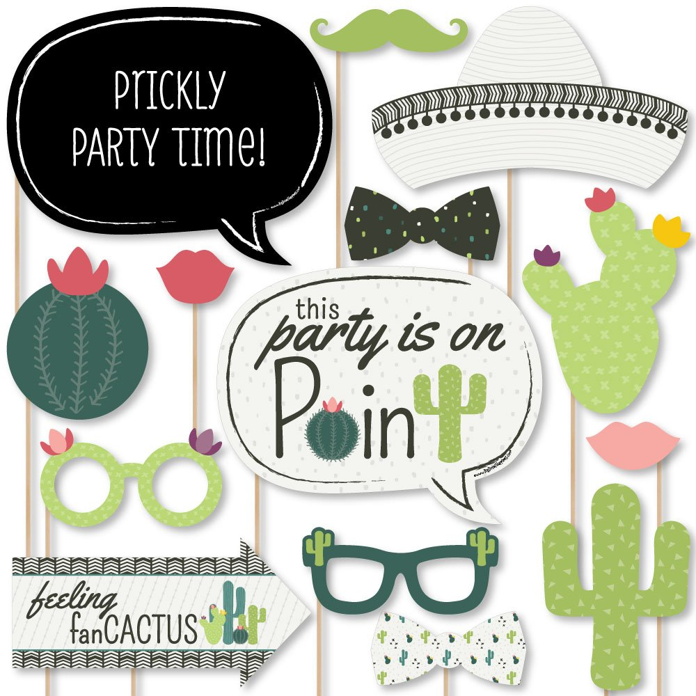 Big Dot of Happiness Prickly Cactus Party - Fiesta Party Photo Booth Props Kit - 20 Count