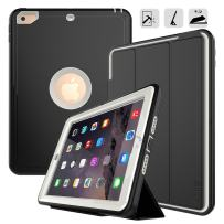 iPad 9.7 2017/2018 case - DUNNO Heavy Duty Full Body Rugged Protective Case with Auto Sleep/Wake Up Stand Folio & Three Layer Design for Apple iPad 9.7 inch 2017/2018 (Black+Gray)