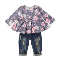 Kids Toddler Baby Girls Outfits Floral Ruffle Long Sleeve Top Ripped Jeans Pant Set Fall Winter Denim Clothes