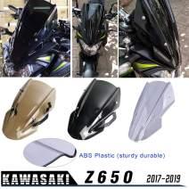 Lorababer for Kawasaki Z650 Z-650 Z 650 2017 2018 2019 Double Bubble Windscreen Windshield Shield Screen Visor Viser with Bracket Motorcycle Z 650 parts(Smoke)