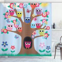 """Ambesonne Owl Shower Curtain, Cartoon Birds and Butterflies on a Tree Nursery Style Composition Kids Illustration, Cloth Fabric Bathroom Decor Set with Hooks, 84"""" Long Extra, Green Blue"""