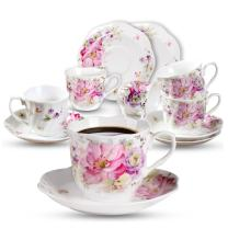 GY 12 PCS Tea Set - 7oz New Bone China tea Cups and Saucers with Pink Flower Pattern Porcelain Cups for Mocha Cappuccino Tea and coffee