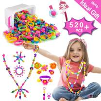 Pop Beads, RUNJNAN 520PCS Jewelry Making Kit Necklaces, Bracelets, Rings, Art Crafts Toys for Girls Age 3yr-10yr, Toddlers, Kid (Box-Packaging)