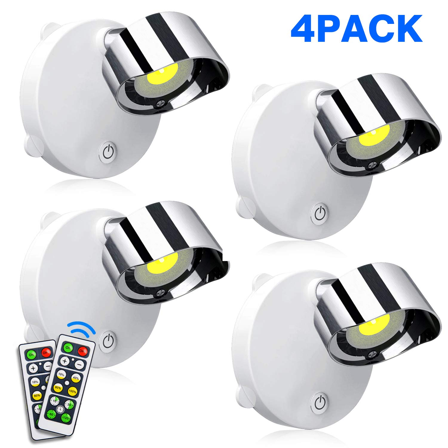 SUNVP LED Closet Lights Battery Operated Wireless Puck Lights with Remote Control, Accent Lights Dimmable Under Cabinet Lighting with Rotatable Light Head Stick on (White 4000K, 4 Pack)