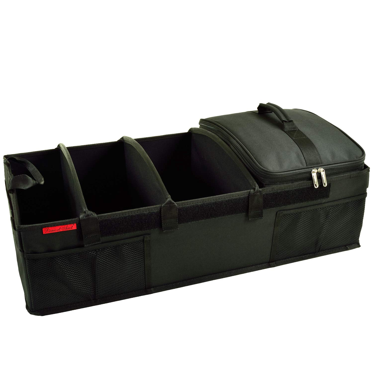 "Picnic at Ascot Heavy Duty Rigid Base Trunk Organizer with 28 Can Capacity Leak Proof Cooler- Adjustable Dividers - 30"" wide x 15"" deep - Designed & Quality Approved in the USA"