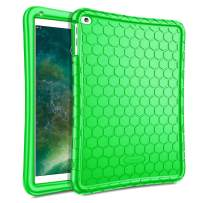 Fintie Case for iPad 9.7 2018 2017 / iPad Air 2 / iPad Air - [Honey Comb Series] Light Weight Anti Slip Kids Friendly Shock Proof Silicone Protective Cover for iPad 6th / 5th Gen, Green