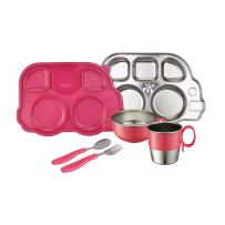 Innobaby Din Din Smart Stainless Steel Dinnerware Gift Set (Divided Plate, Sectional Lid, Cup, Bowl and Utensil Set) for Babies, Toddlers and Kids. BPA Free, Pink
