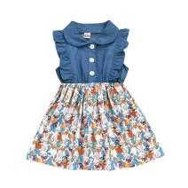Ritatte Toddler Baby Girl Princess Skirt Denim Blue Stitching Dress Girls Easter Rabbit Print Fluffy Skirt