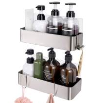 Orimade Shower Caddy Organizer with Hooks for Hanging Razor and Sponge Adhesive Wall Shower Shelf Bathroom Storage Kitchen Rack No Drilling Rustproof Stainless Steel - 2 Pack