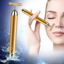 24k Facial Massager Beauty Bar Golden Pulse Facial Massager, T Shape Gold Stick, Facial Roller Massager Face Lift Firming, Skincare Anti-Wrinkle Treatment, Skin Tightening