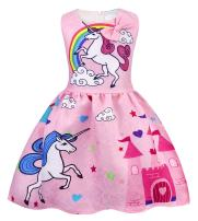 Cotrio Girls' Unicorn Theme Birthday Party Dresses Child Rainbow Stars Casual Dress with Bow-Knot Pleated Skirt Halloween Clothes Outfit Size 6 (5-6 Years, Pink, 120)