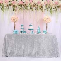 """TRLYC 60"""" 102"""" Silver Luxe Party Wedding Decor Sequin Rectangle Table Decor Shimmer Glitz Tablecloth"""