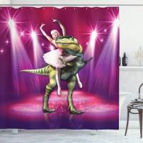 "Ambesonne Animal Shower Curtain, Ballerina Dancing with a Dinosaur Under Neon Stage Unusual Absurd Image Print, Cloth Fabric Bathroom Decor Set with Hooks, 84"" Long Extra, Purple Pink"