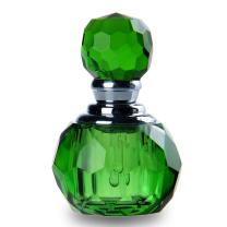 H&D H&D HYALINE & DORA Cute Green Crystal Glass Empty Refillable Perfume Bottle with Crystal Ball Prism Stopper Decor
