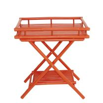 Statra Bamboo Butler Table With Removable Serving Tray, Orange