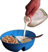 Just Crunch Anti-Soggy Cereal Bowl - Keeps Cereal Fresh & Crunchy | BPA Free | Microwave Safe | Ice Cream & Topping, Yogurt & Berries, Fries & Ketchup and More – Blue