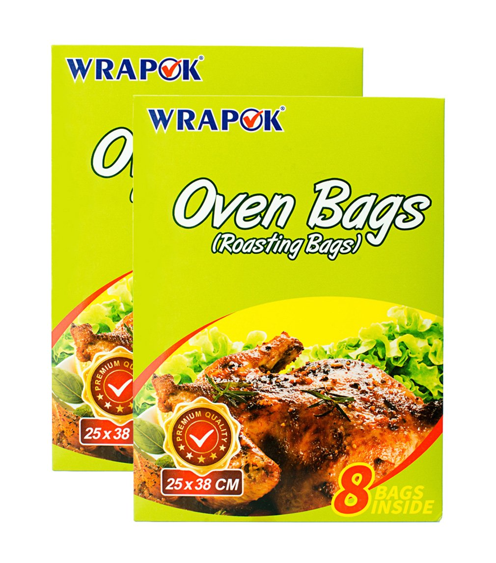 WRAPOK Oven Cooking Turkey Bags Small Size Ribs Baking Roasting Bags No Mess For Chicken Meat Ham Poultry Fish Seafood Vegetable - 16 Bags (10 x 15 Inch)