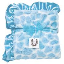 Max Daniel Child Blue Giraffe Blanket - Double Sided-Satin Ruffle