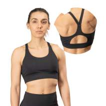 IYEEWA Women Racerback Sports Bra for Gym Running Workout Fitness Removable Padded Sports Bras High Support