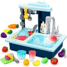 STEAM Life Kitchen Play Sink Toy with Play Food & Color Changing Toy Dishes - Play Sink with Running Water - Pretend Play Kitchen Toys for Girls and Boys - Kitchen Toddler Sink Toy for Kids (Blue)