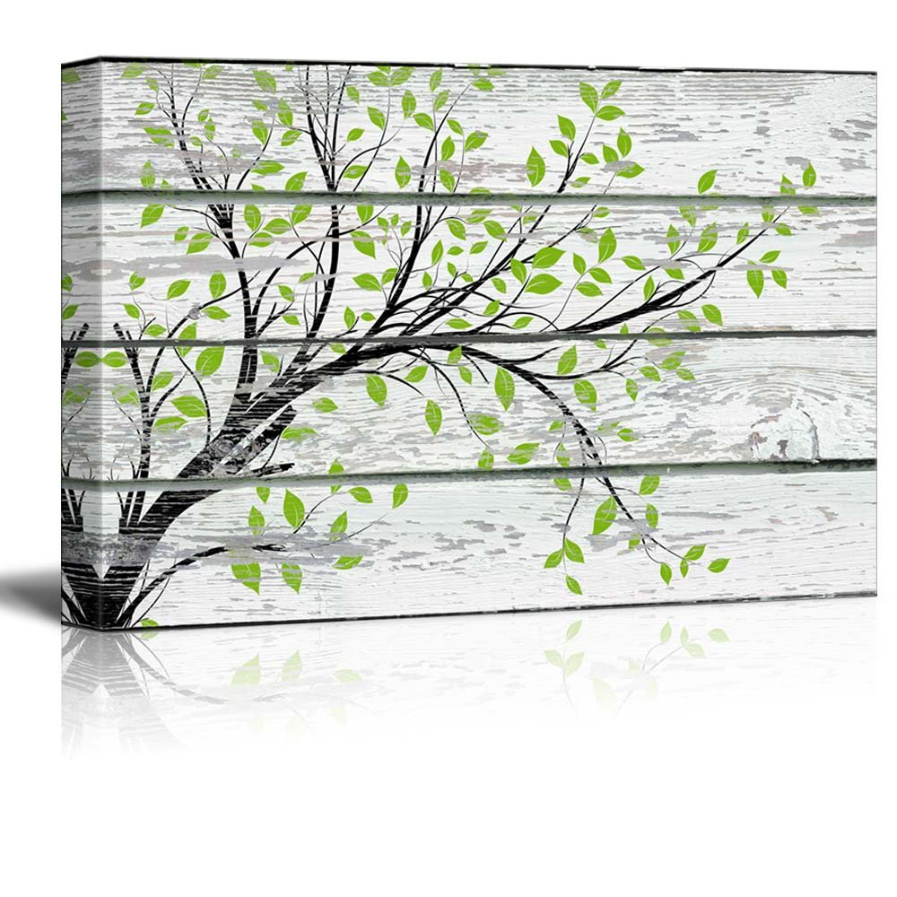"""wall26 Canvas Prints Wall Art - Tree Branch with Green Leaves on Vintage Wood Background Rustic Home Decoration - 12"""" x 18"""""""