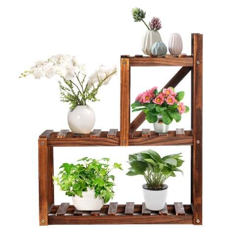Tooca Wood Plant Stands Indoor 2 Tier, Patio Plant Stands Tiered