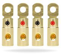 InstallGear 4 AWG Gauge Gold Ring Set Screw Battery Ring Terminals (4 Pack)