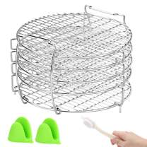 Dehydrator Stand, Dehydrator Rack Compatible With Ninja Foodi Pressure Cooker and Air Fryer 6.5 & 8 qt, Food Grade Stainless Steel with Silicone Oven Mitts, Rack Clean Brush