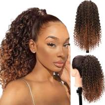 Earfodo Drawstring Ponytail African American Kinky Curly Ponytail Extension for Black Women Heat Resistant Fiber 4C Ponytail for Daily Use(1/27#)