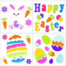Easter Decorations Spring Gel Window Clings for Glass Windows, Easter Decor for Home and School Jelly Window Clings Stickers Gift for Kids Children-4Sheets