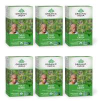 Organic India Tulsi Green Tea, Immune Support, Organic, Non-GMO, and Fair Trade, 18 Infusion Bags (Pack of 6)