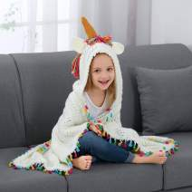 Brandream Unicorn Blanket Girl Boys Kids Blanket Toddler Hooded Blanket Wearable All Season Blanket, Mystical Horn & Mane, Rainbow Unicorn Design Gifts