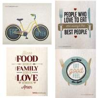 Food Sayings Set of 4 Cloths (one of Each Design) Swedish Dishcloths | ECO Friendly Absorbent Cleaning Cloth | Reusable Cleaning Wipes