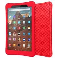 "MoKo Case for All-New Fire HD 10 Tablet (7th Generation/9th Generation, 2017/2019 Release), Shockproof Soft Silicone Back Cover [Kids Friendly] for Fire HD 10.1"", RED"