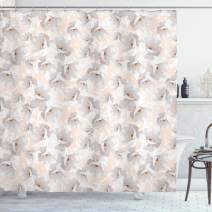 """Lunarable Cream Shower Curtain, Pattern with Wildflowers and Roses Soft Color Palette Summer Season Floral Arrangement, Cloth Fabric Bathroom Decor Set with Hooks, 70"""" Long, Peach Grey"""