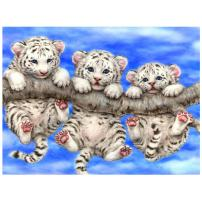 DIY Diamond Painting Three Tigers Embroidery Handicrafts Full Square Animal Series Diamond Embroidery Animal Mosaic Picture Home Decor (11.8X15.7 inch)