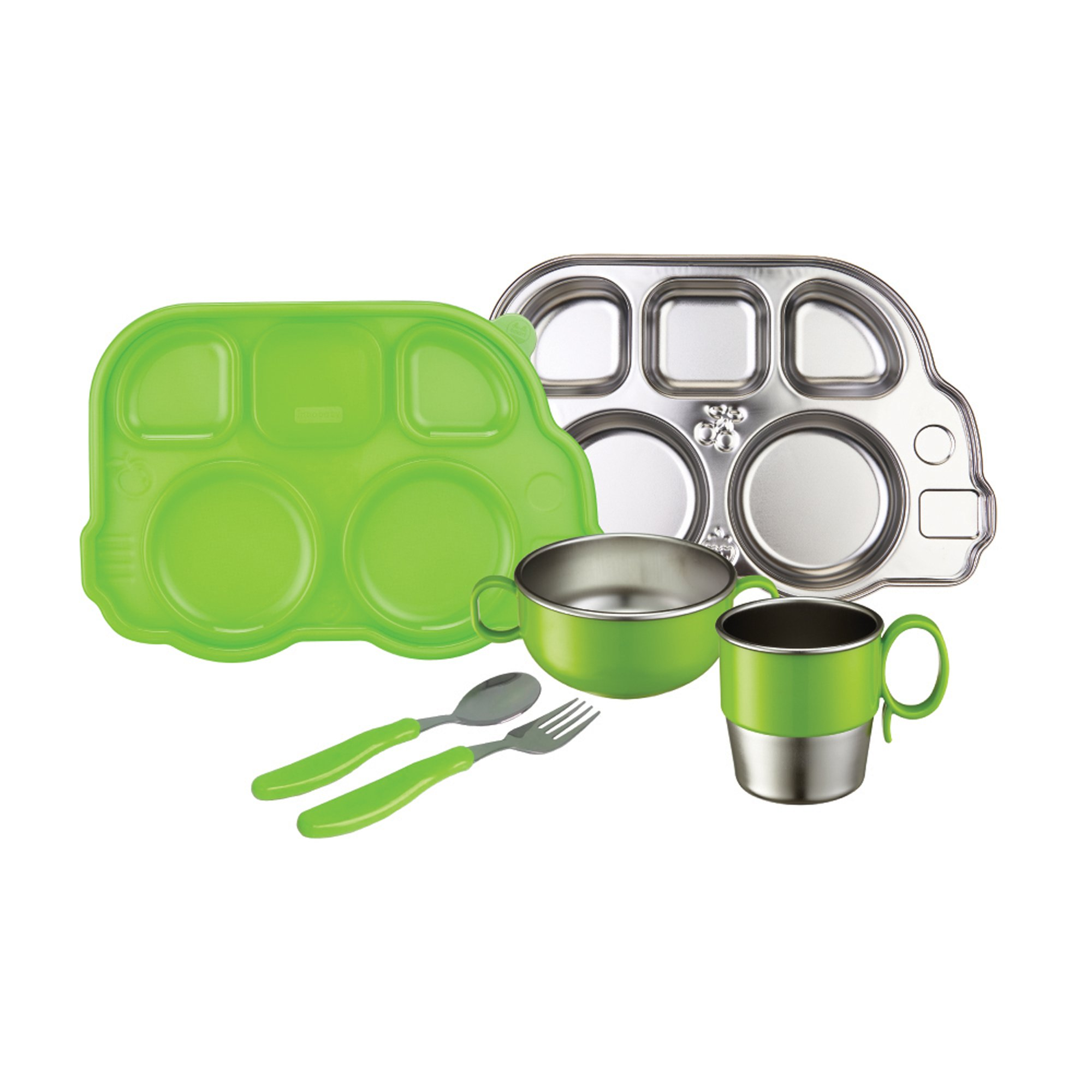 Innobaby Din Din Smart Stainless Steel Dinnerware Gift Set (Divided Plate, Sectional Lid, Cup, Bowl and Utensil Set) for Babies, Toddlers and Kids. BPA Free, Green