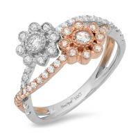 Clara Pucci 0.6 CT Round Cut Halo Pave Flower Anniversary Promise Engagement Wedding Ring Band 14k Rose White Gold