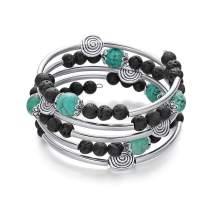 Hiyong 7 Chakra Mala Bead Wrap Bracelet - Handmade Wire Wrap Lava Rock Howlite Turquoise Tiger Eye Crystal Yoga Bangle Bracelet